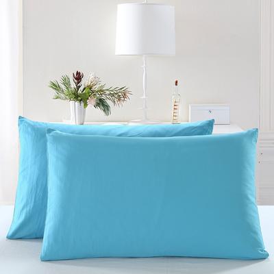 全棉13372单品纯色枕套 48cmX74cm/一对 湖水蓝