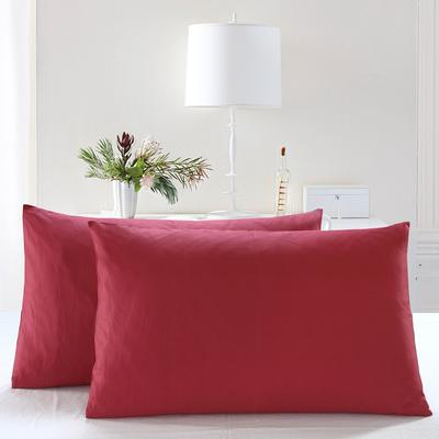 全棉13372单品纯色枕套 48cmX74cm/一对 珊瑚红