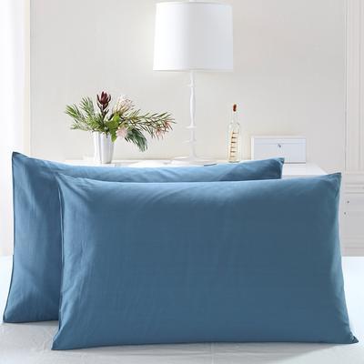 全棉13372单品纯色枕套 48cmX74cm/一对 深海蓝