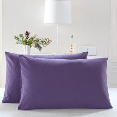 全棉13372单品纯色枕套 48cmX74cm/一对 神秘紫