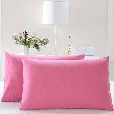 全棉13372单品纯色枕套 48cmX74cm/一对 胭脂粉