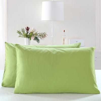 全棉13372单品纯色枕套 48cmX74cm/一对 椰壳绿