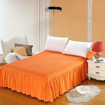 全棉时尚夹棉床裙 150cmx200cm 浪漫橙