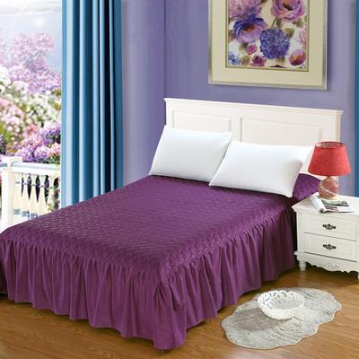 全棉时尚夹棉床裙 150cmx200cm 魅惑紫