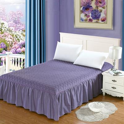 全棉时尚夹棉床裙 150cmx200cm 神秘紫