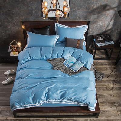 轻奢素颜TB风全棉四件套 1.8m(6英尺)床 蔚蓝