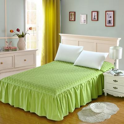 全棉时尚夹棉床裙 150cmx200cm 椰壳绿