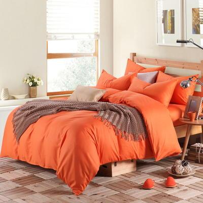 2018新款-何以笙萧默同款纯色四件套 1.5m(5英尺)床 橘黄
