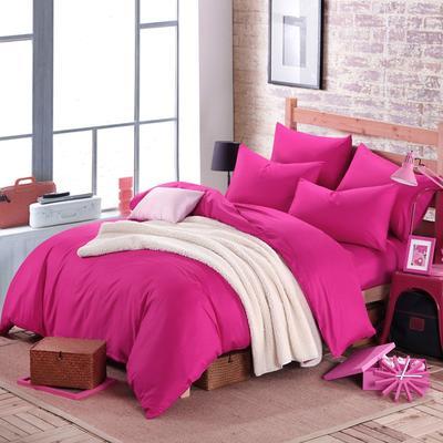 2018新款-何以笙萧默同款纯色四件套 1.5m(5英尺)床 玫红