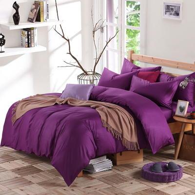 2018新款-何以笙萧默同款纯色四件套 1.5m(5英尺)床 深紫