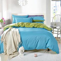 2018新款-全棉13372纯色双拼四件套 1.5m(5英尺)床 天蓝绿