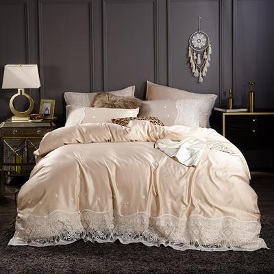 2019新款-水洗真丝四件套烫钻蕾丝款 1.5m(5英尺)床 藕合色