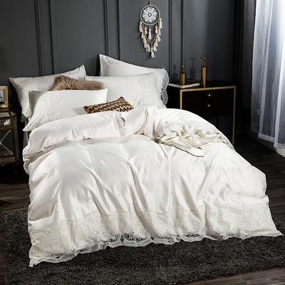 2019新款-水洗真丝四件套烫钻蕾丝款 1.5m(5英尺)床 珍珠白