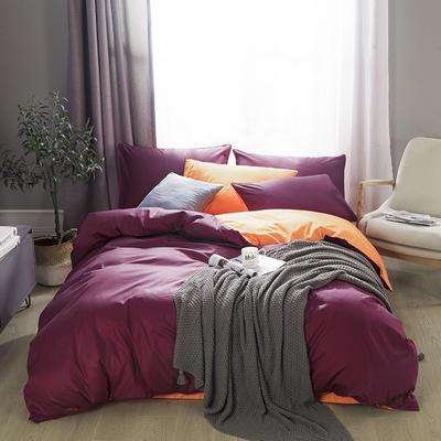 2019新款-全棉13372纯色双拼四件套 1.5m(5英尺)床 绛紫橙