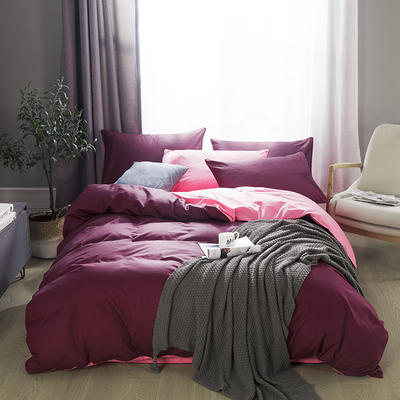 2019新款-全棉13372纯色双拼四件套 1.5m(5英尺)床 绛紫粉