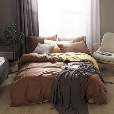 2019新款-全棉13372纯色双拼四件套 1.5m(5英尺)床 咖啡金