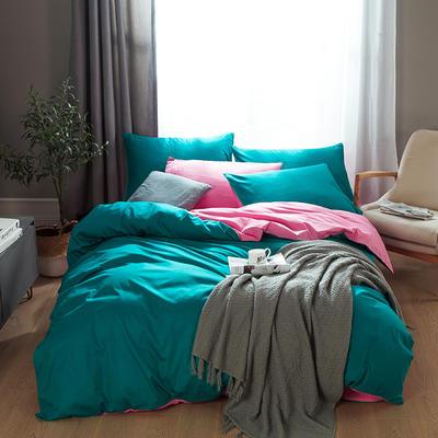 2019新款-全棉13372纯色双拼四件套 1.5m(5英尺)床 靓粉绿