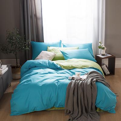 2019新款-全棉13372纯色双拼四件套 1.5m(5英尺)床 天蓝绿