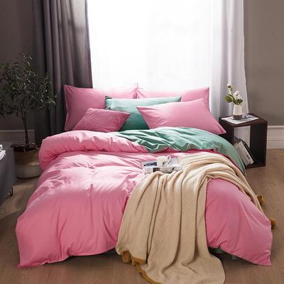 2019新款-全棉13372纯色双拼四件套 1.5m(5英尺)床 胭脂绿