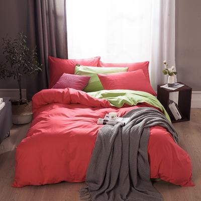 2019新款-全棉13372纯色双拼四件套 1.5m(5英尺)床 钻红绿