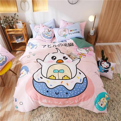 2020新款-喷气全棉13372二次元卡通四件套 床单款三件套1.2m(4英尺)床 甜甜圈