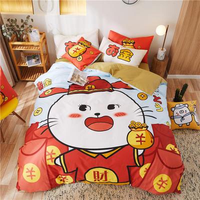2020新款-喷气全棉13372二次元卡通四件套 床单款三件套1.2m(4英尺)床 招财猫