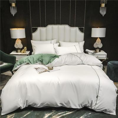 2020新款-尊享轻奢喷气全棉13374工艺款四件套 床单款四件套1.8m(6英尺)床 贵族白+抹茶绿