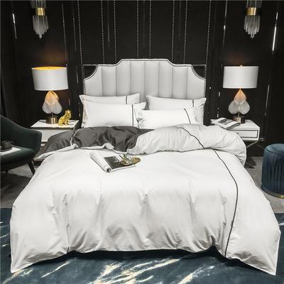 2020新款-尊享轻奢喷气全棉13374工艺款四件套 床单款四件套1.8m(6英尺)床 贵族白+气质灰