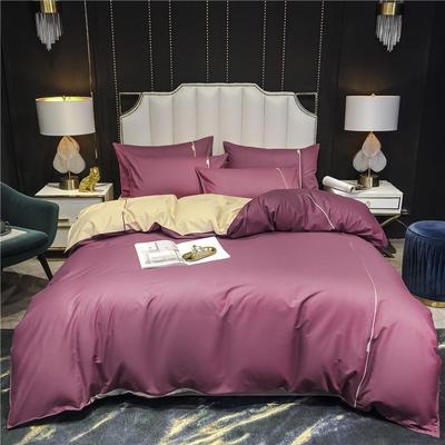 2020新款-尊享轻奢喷气全棉13374工艺款四件套 床单款四件套1.8m(6英尺)床 海棠红+魅力黄