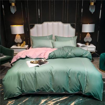 2020新款-尊享轻奢喷气全棉13374工艺款四件套 床单款四件套1.8m(6英尺)床 抹茶绿+清雅粉
