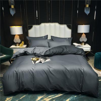 2020新款-尊享轻奢喷气全棉13374工艺款四件套 床单款四件套1.8m(6英尺)床 气质灰+绅士灰
