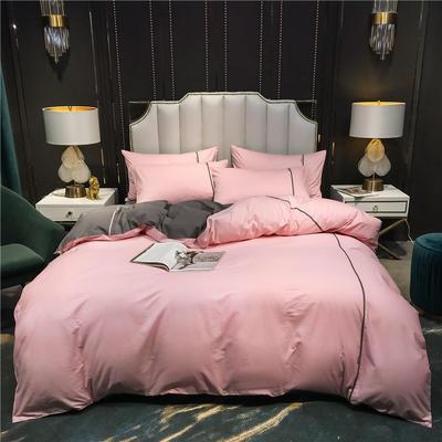 2020新款-尊享轻奢喷气全棉13374工艺款四件套 床单款四件套1.8m(6英尺)床 清雅粉+绅士灰