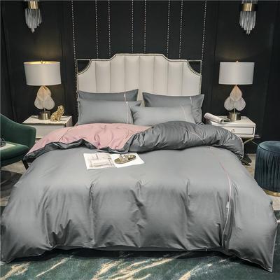2020新款-尊享轻奢喷气全棉13374工艺款四件套 床单款四件套1.5m(5英尺)床 绅士灰+豆沙色