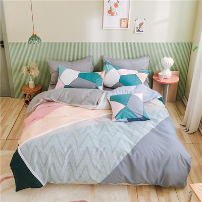 2020新款-喷气全棉13372二次元卡通四件套 床单款三件套1.2m(4英尺)床 超喜欢你