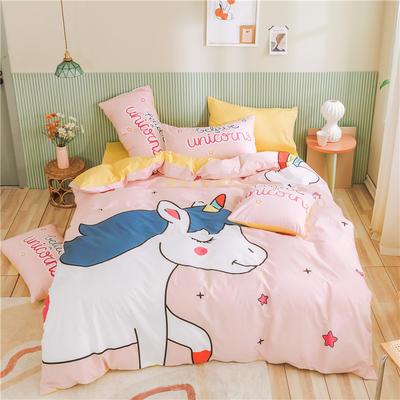 2020新款-喷气全棉13372二次元卡通四件套 床单款三件套1.2m(4英尺)床 纯真粉