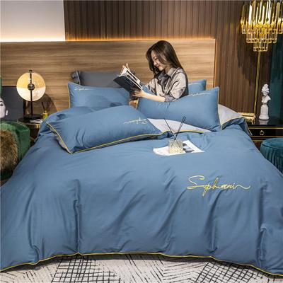 2020新款-40s贡缎长绒棉字母款全棉四件套轻奢床上用品(模特图) 床单款四件套1.5m(5英尺)床 宝兰配浅灰