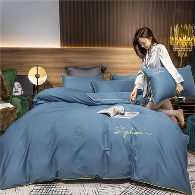 2020新款-40s贡缎长绒棉字母款全棉四件套轻奢床上用品(模特图) 床单款四件套1.5m(5英尺)床 宾利蓝