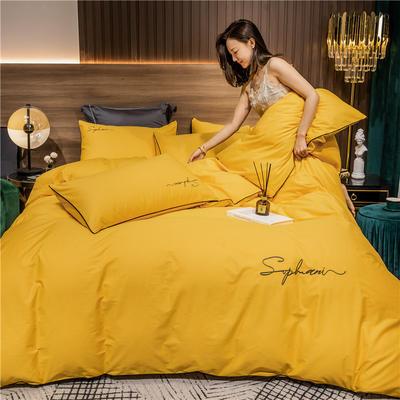 2020新款-40s贡缎长绒棉字母款全棉四件套轻奢床上用品(模特图) 床单款四件套1.5m(5英尺)床 姜黄