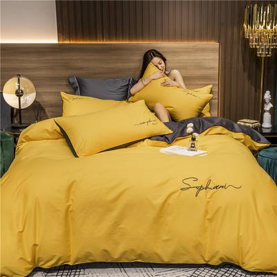 2020新款-40s贡缎长绒棉字母款全棉四件套轻奢床上用品(模特图) 床单款四件套1.5m(5英尺)床 姜黄灰