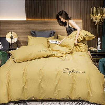 2020新款-40s贡缎长绒棉字母款全棉四件套轻奢床上用品(模特图) 床单款四件套1.8m(6英尺)床 金秋黄