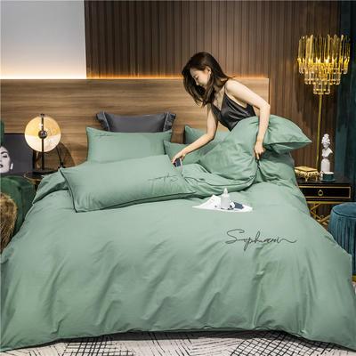 2020新款-40s贡缎长绒棉字母款全棉四件套轻奢床上用品(模特图) 床单款四件套1.8m(6英尺)床 抹茶绿