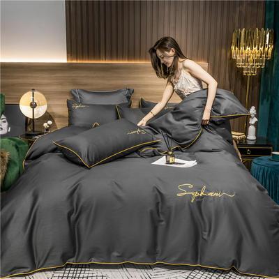 2020新款-40s贡缎长绒棉字母款全棉四件套轻奢床上用品(模特图) 床单款四件套1.5m(5英尺)床 绅士灰