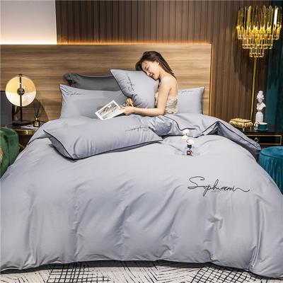 2020新款-40s贡缎长绒棉字母款全棉四件套轻奢床上用品(模特图) 床单款四件套1.5m(5英尺)床 炫彩灰