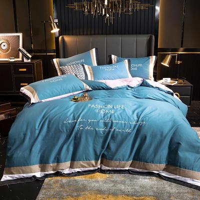 2020新款-轻奢40s贡缎长绒棉四件套-皇系列 1.8m床单款四件套 粉末蓝
