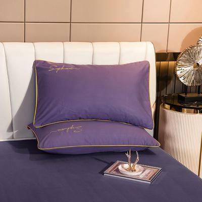 2020新款-40s贡缎长绒棉字母款单品枕套 48*74cm/一对 帝王紫