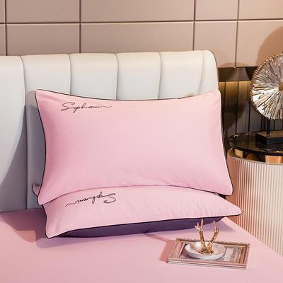 2020新款-40s贡缎长绒棉字母款单品枕套 48*74cm/一对 粉玉配灰紫
