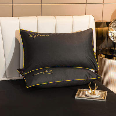 2020新款-40s贡缎长绒棉字母款单品枕套 48*74cm/一对 绅士灰