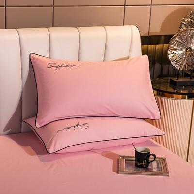 2020新款-40s贡缎长绒棉字母款单品枕套 48*74cm/一对 香妃粉