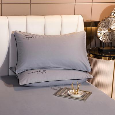 2020新款-40s贡缎长绒棉字母款单品枕套 48*74cm/一对 炫彩灰