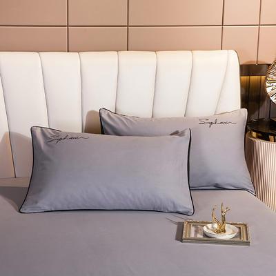 2020新款-40s贡缎长绒棉字母款单品枕套 48*74cm/一对 银高级灰